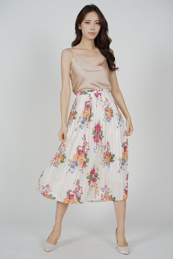 Ferlis Pleated Skirt in Cream Floral