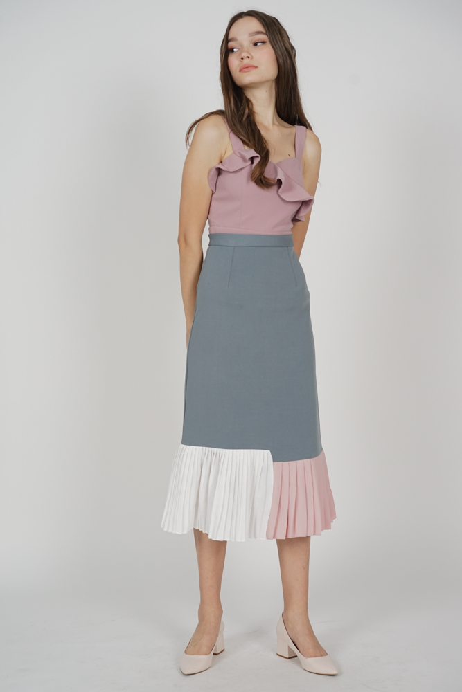 Dorothy Pleated-Hem Skirt in Grey - Arriving Soon