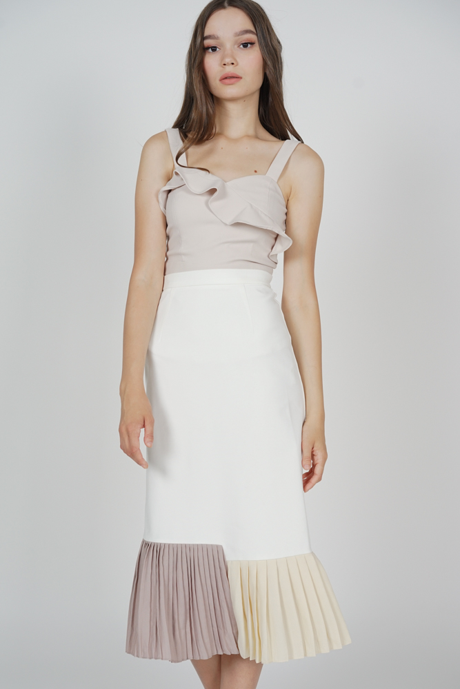 Dorothy Pleated-Hem Skirt in White - Arriving Soon