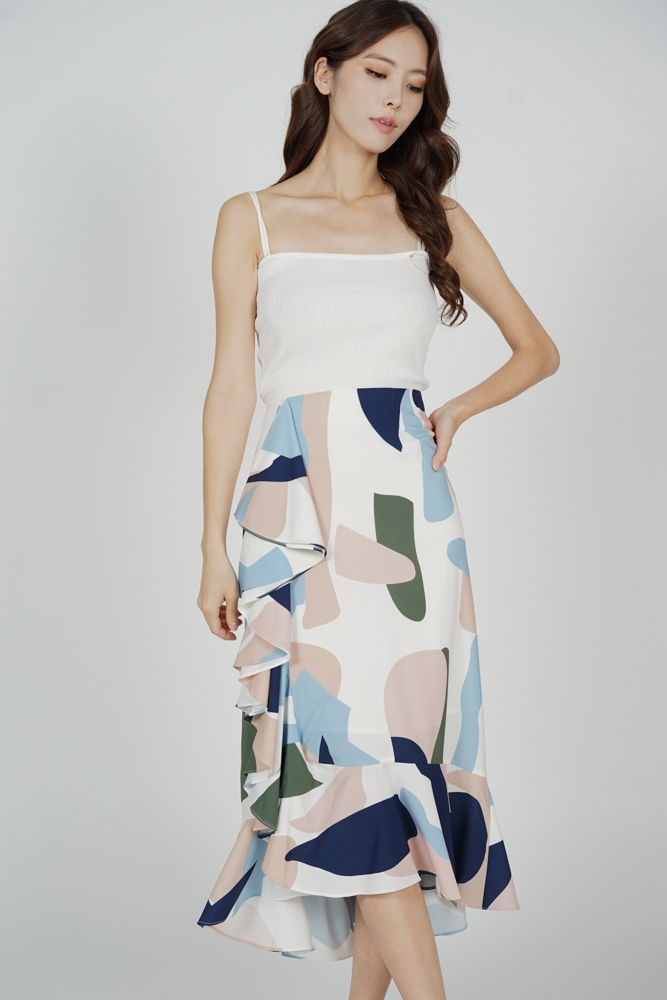 Glaris Ruffled Skirt in Blue Abstract