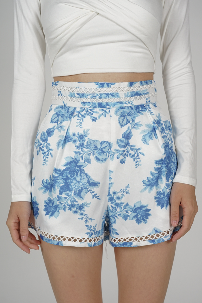 Oyra High Waist Shorts in Blue Floral