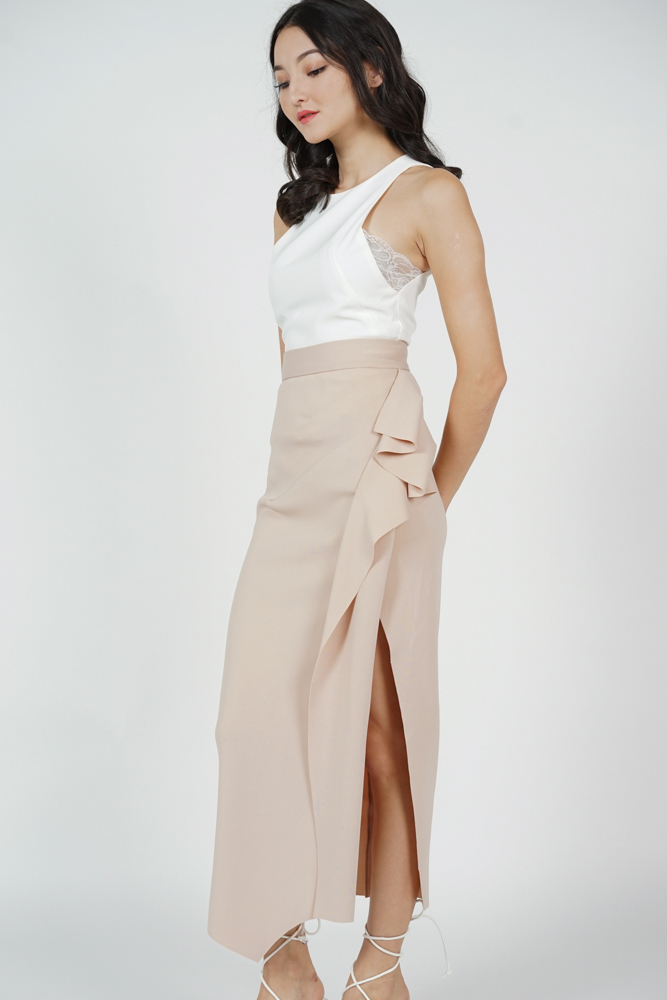 Issey Midi Ruffled Skirt in Beige - Arriving Soon