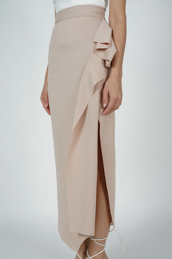 Issey Midi Ruffled Skirt in Beige