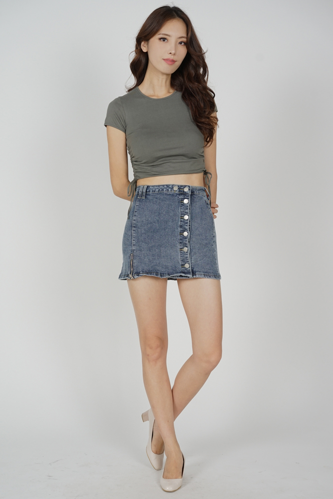 Micha Buttoned Denim Skorts in Blue - Online Exclusive