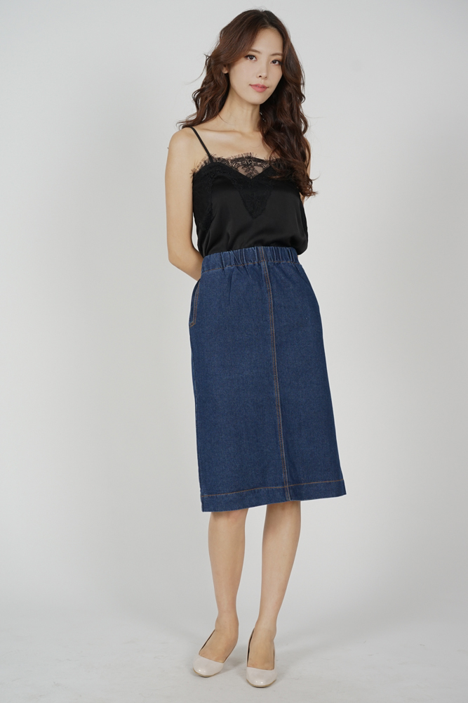 Kiria Midi Denim Skirt in Dark Blue - Online Exclusive