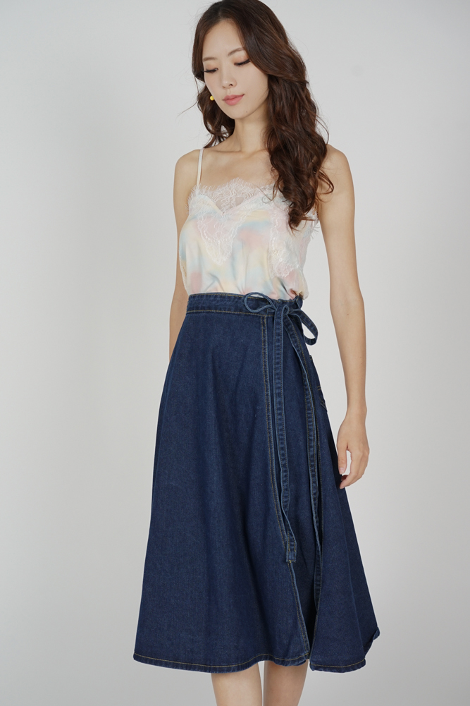 Ouri Wrapped Denim Skirt in Dark Blue - Online Exclusive