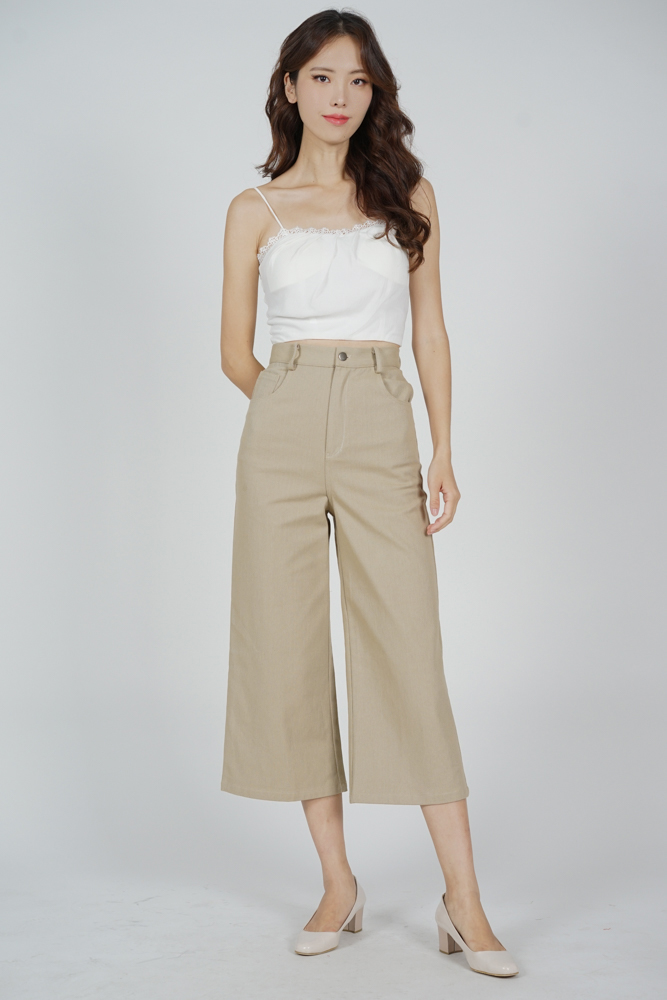 Arian Wide Leg Pants in Khaki - Arriving Soon