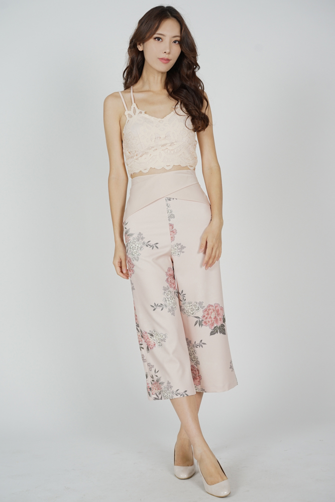 Gredia Overlay Criss Cross Pants in Blush Floral