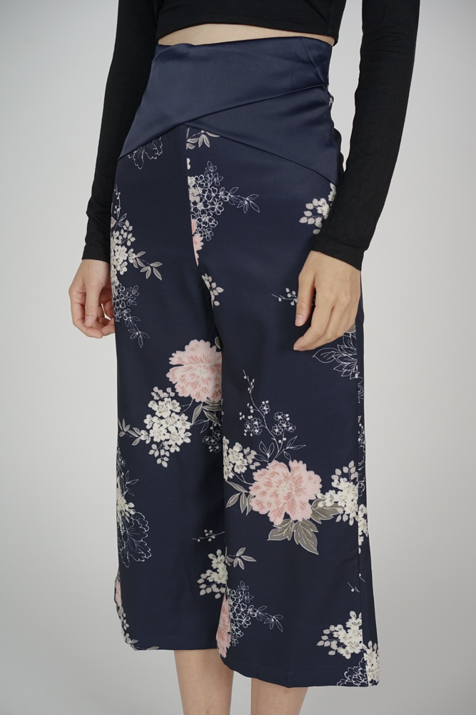 Gredia Overlay Criss Cross Pants in Midnight Floral - Arriving Soon
