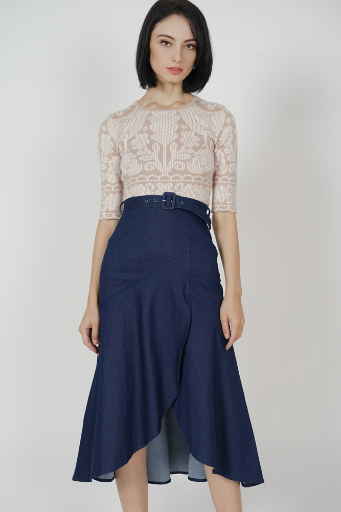 Claudia Buckled Denim Skirt in Dark Blue