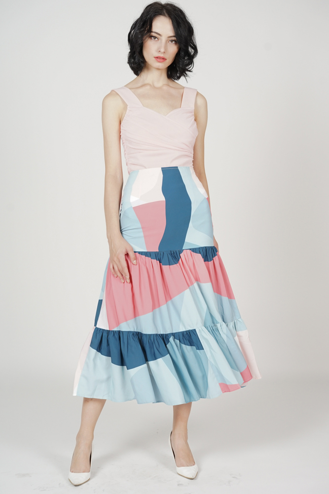 Kazan Geometric Tiered Skirt in Blue