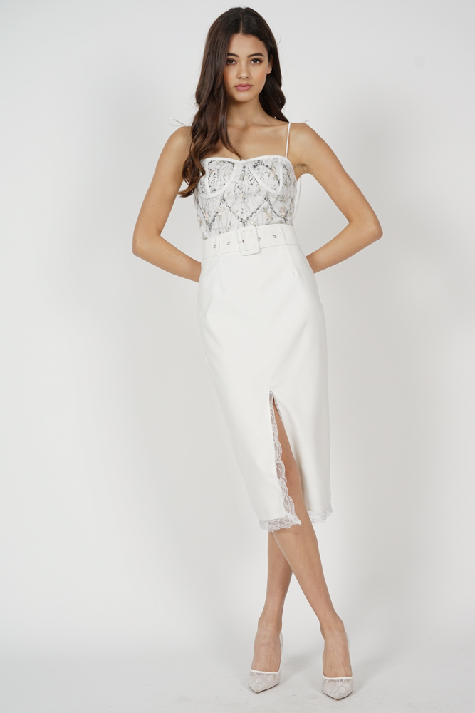 Gladys Slit Skirt in White