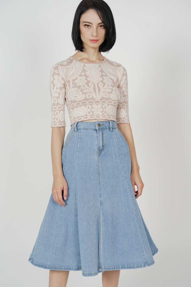 Lebron Flared Midi Skirt in Blue - Online Exclusive