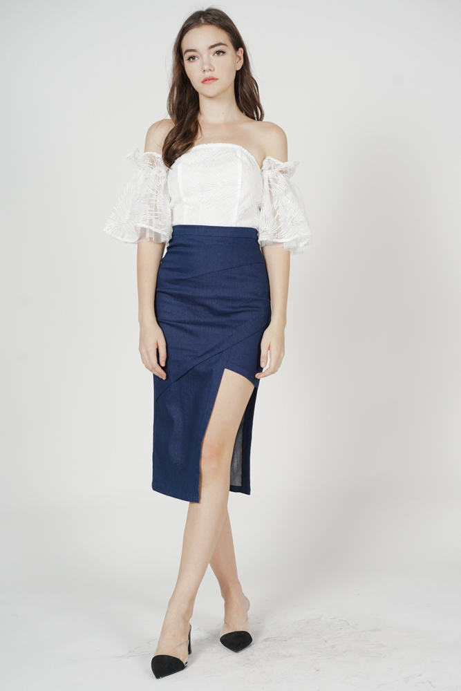 Hedy Cutout Skirt in Blue Denim - Arriving Soon