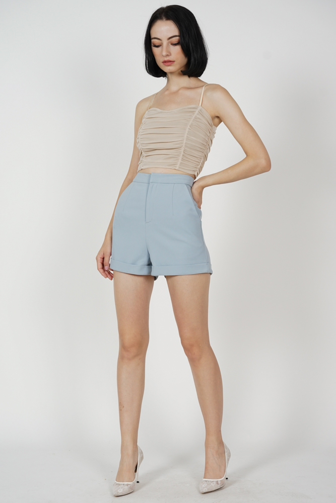 Aden Pleated Shorts in Ash Blue
