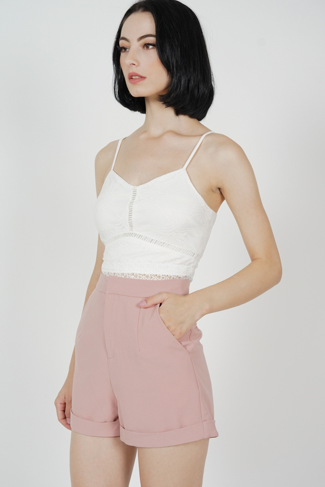 Aden Pleated Shorts in Pink