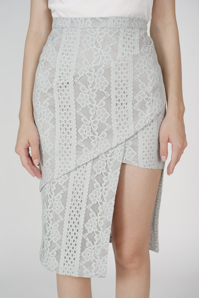 Scilla Cutout Lace Skirt in Ash Blue