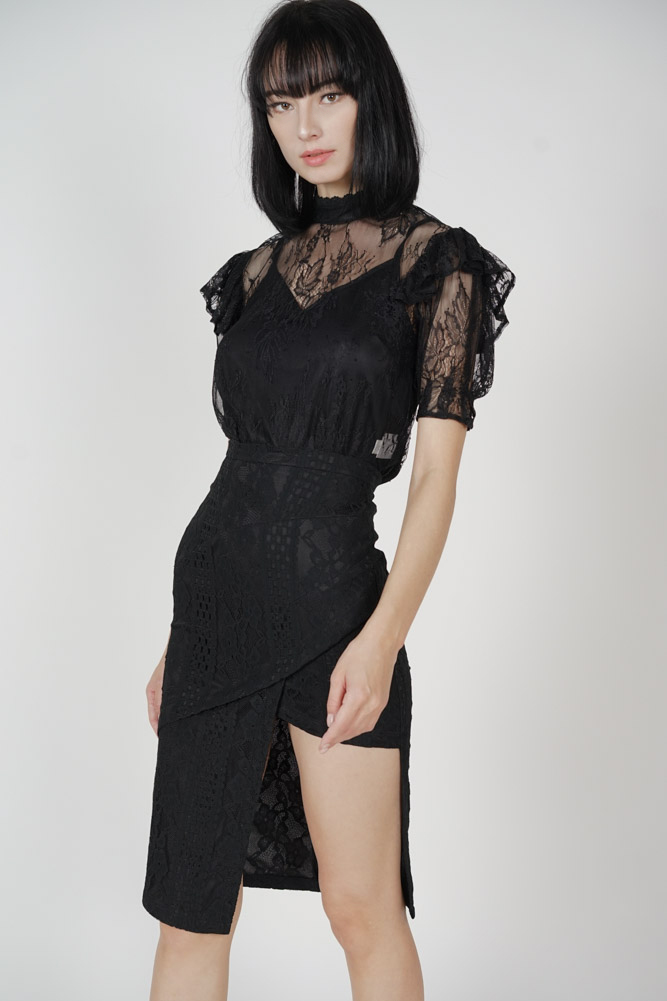 Scilla Cutout Lace Skirt in Black - Arriving Soon