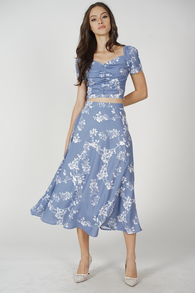 Anson Flared Skirt in Blue Floral
