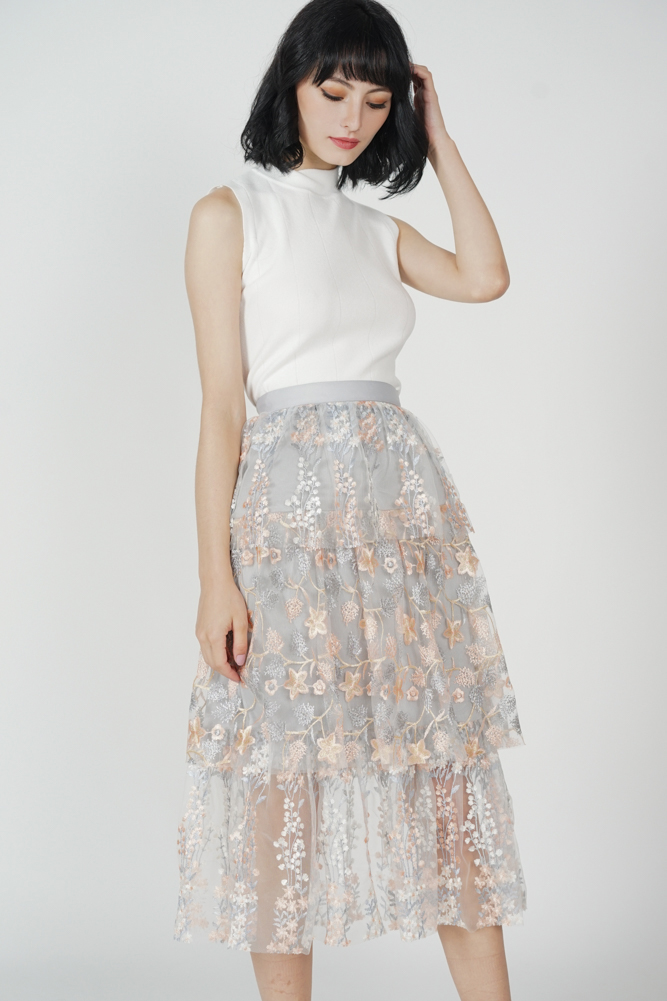 Aberfa Mesh Skirt in Grey Floral - Arriving Soon