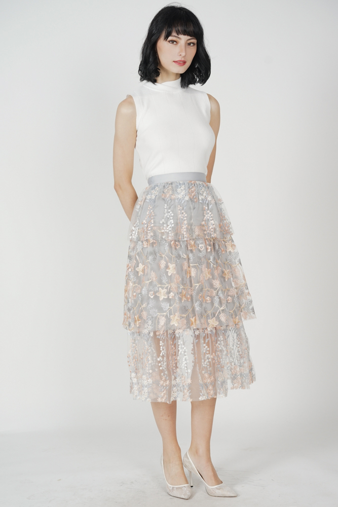 Aberfa Mesh Skirt in Grey Floral