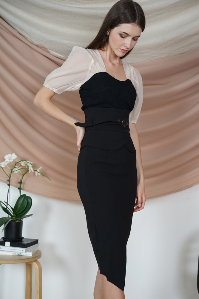 Oifa Buckled Midi Skirt in Black - Arriving Soon