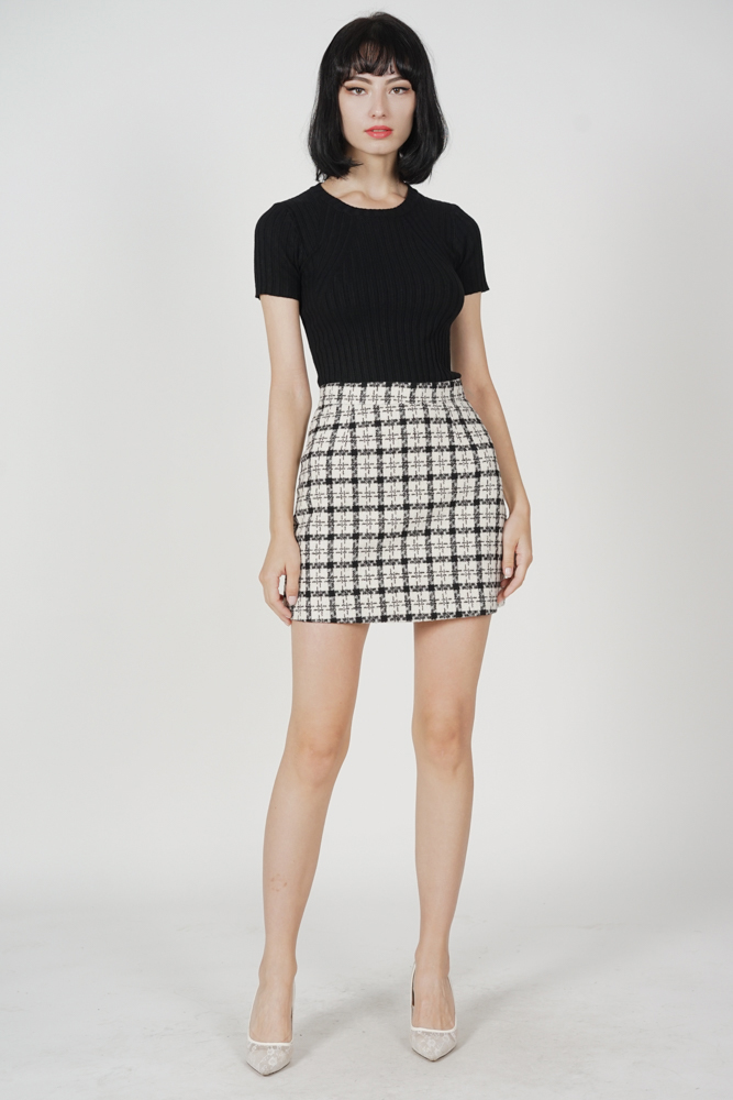 Saylor Checkered Mini Skirt in Black - Online Exclusive
