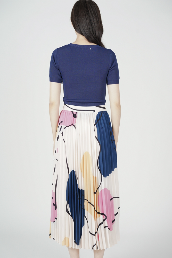 Zayne Pleated Skirt in White Abstract - Arriving Soon