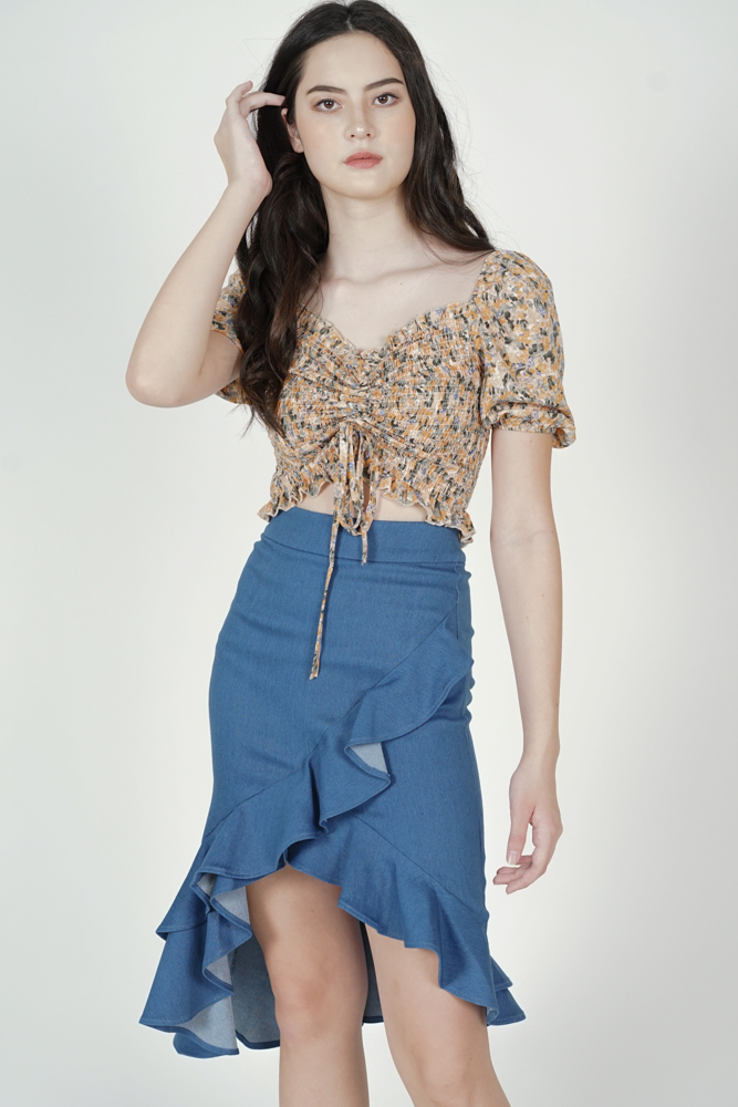 Lanka Ruffled Skirt in Blue - Arriving Soon