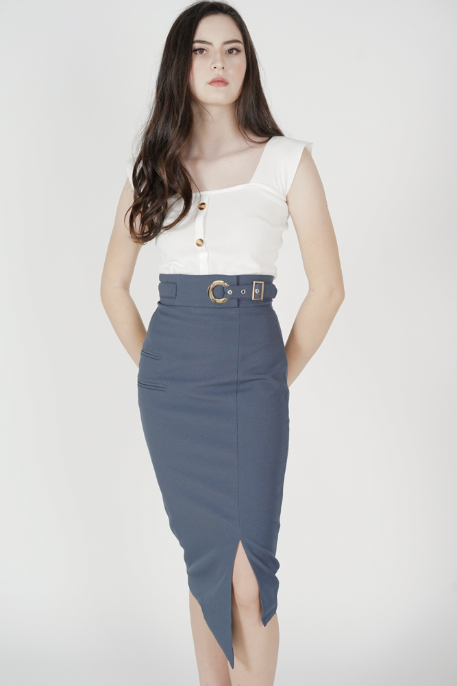 Jayre Buckled Skirt in Dusty Blue - Arriving Soon