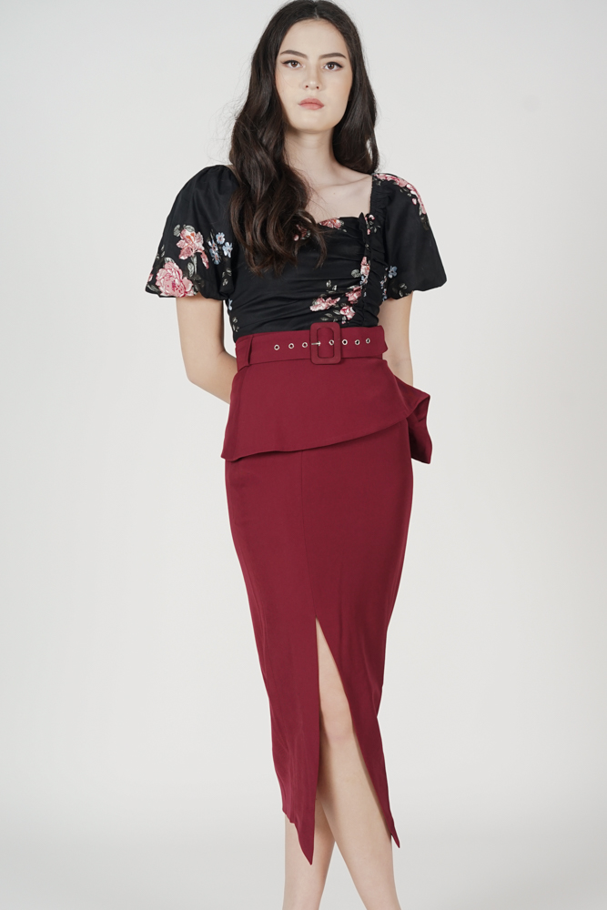 Biryo Fold-Over Skirt in Oxblood - Arriving Soon
