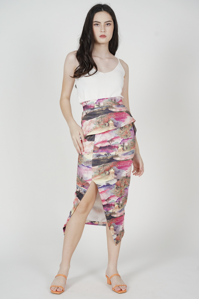 Kaelah Fold-Over Skirt in Multi - Arriving Soon