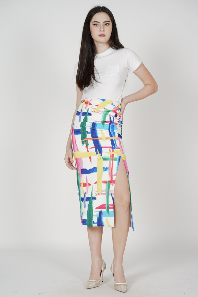 Klabi Side Ruched Abstract Skirt in White - Arriving Soon