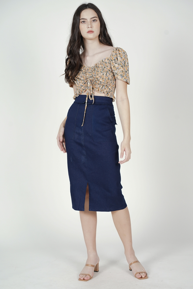 Treza Midi Skirt in Dark Denim - Arriving Soon