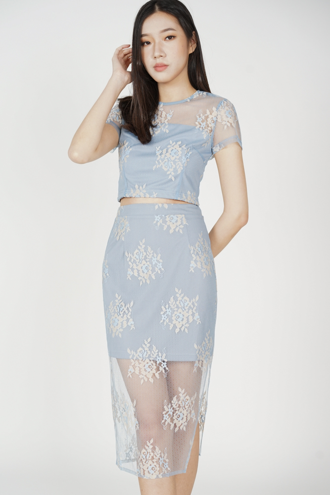 Britney Lace Skirt in Ash Blue - Arriving Soon