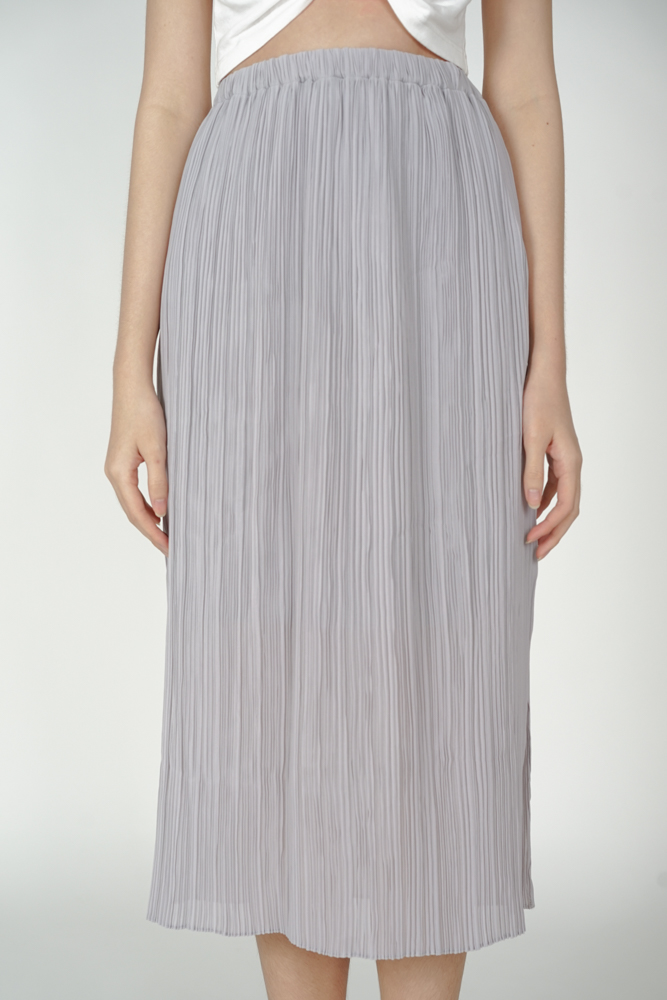 Randall Pleated Skirt in Dusty Blue - Arriving Soon