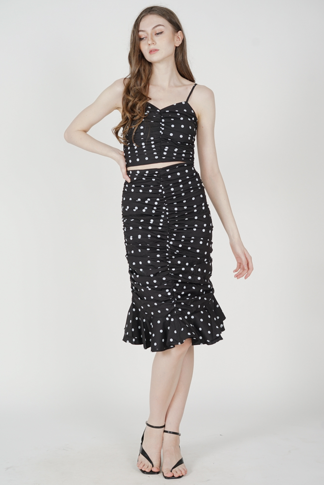 Lilah Ruched Skirt in Black Polka Dots - Arriving Soon