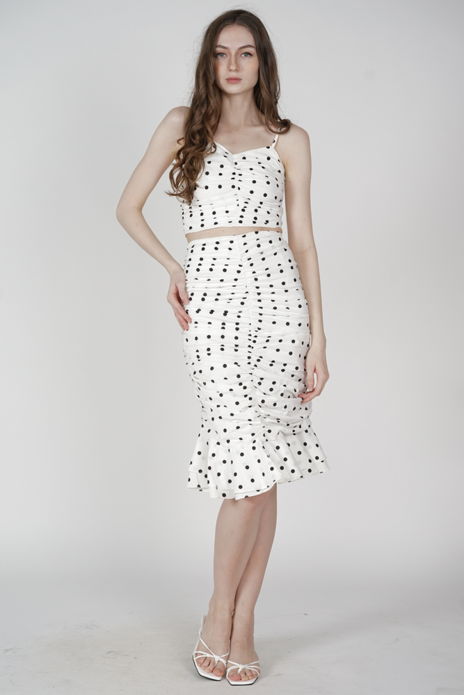 Lilah Ruched Skirt in White Polka Dots - Arriving Soon