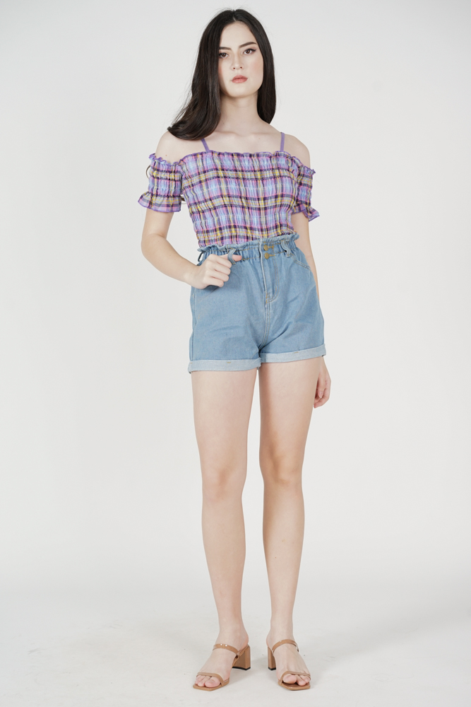 Riomi High Waisted Shorts in Blue - Online Exclusive
