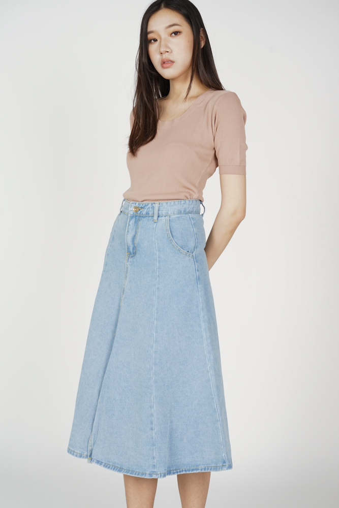 Eddie Denim Skirt in Light Blue - Online Exclusive