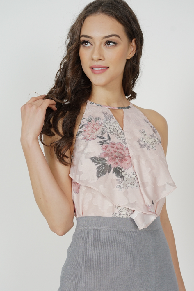 Cutout Ruffled Top in Pink Floral