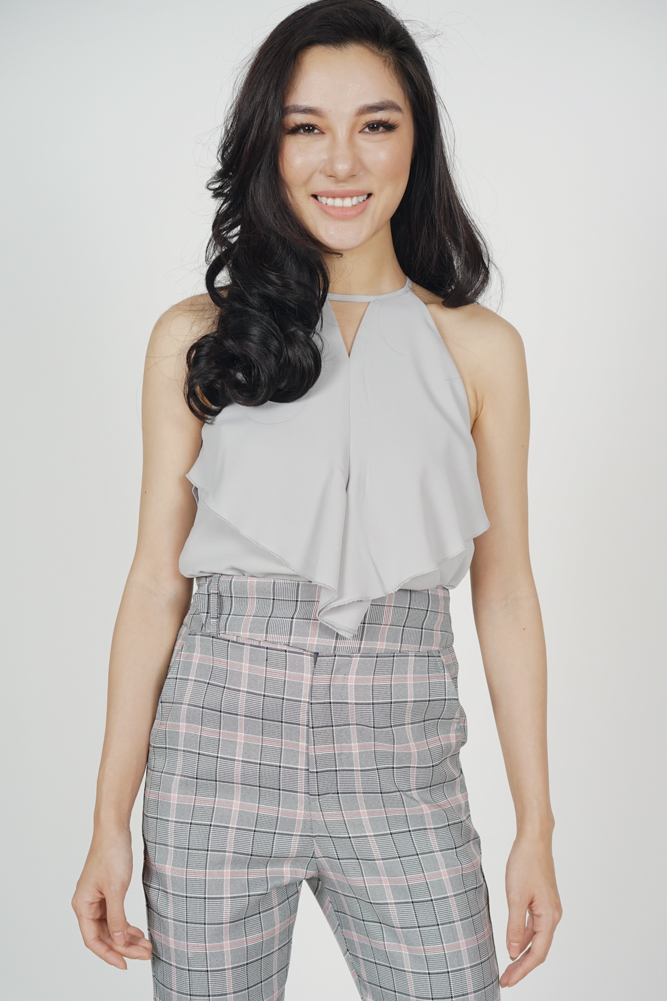 Cutout Ruffled Top in Light Grey