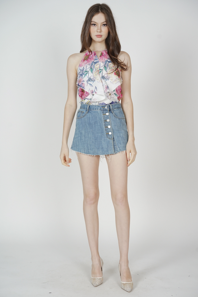 Cutout Ruffled Top in Multi Floral - Arriving Soon