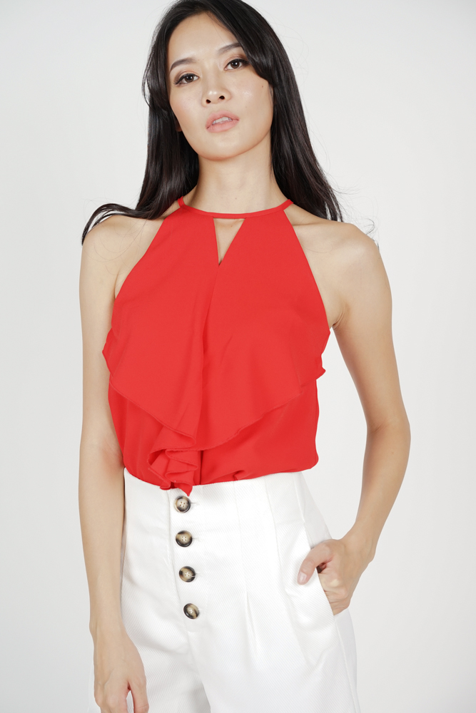Cutout Ruffled Top in Red