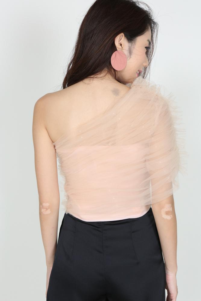 Tulle Toga Top in Blush