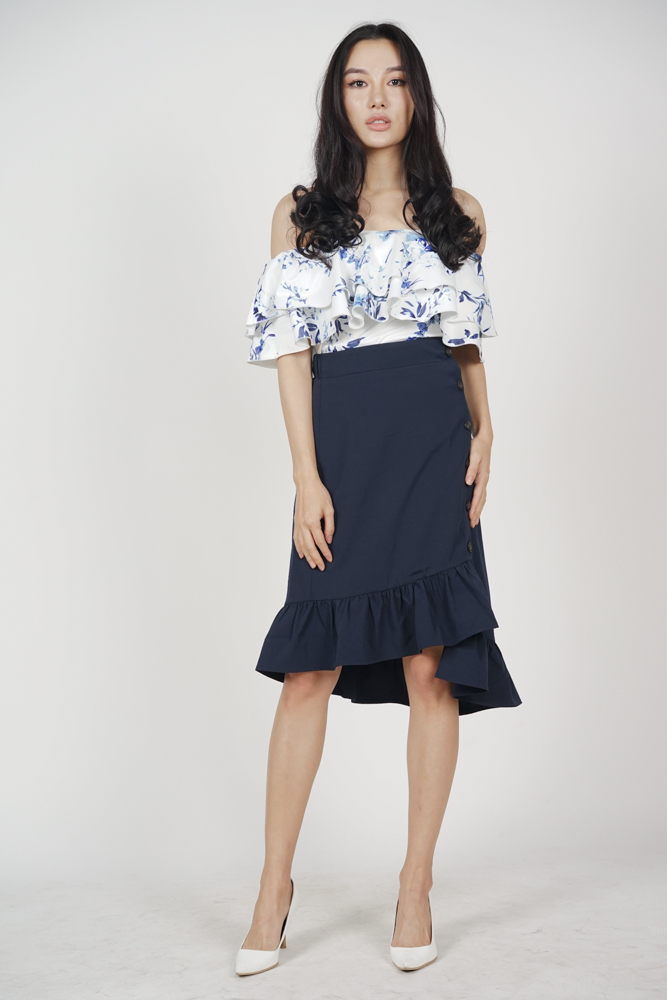 Flounce Layer Top in Blue Floral