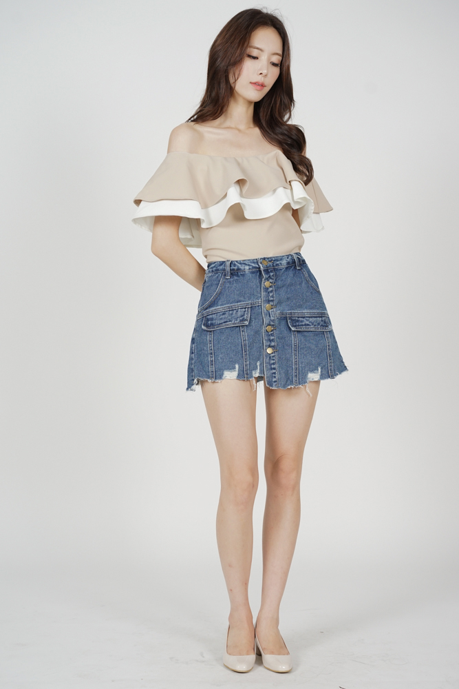 Flounce Layer Top in Beige White - Arriving Soon