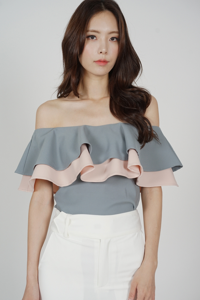 Flounce Layer Top in Grey Pink - Arriving Soon
