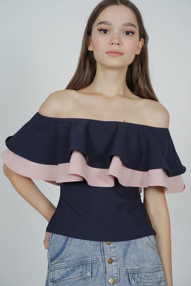 Flounce Layer Top in Midnight Pink