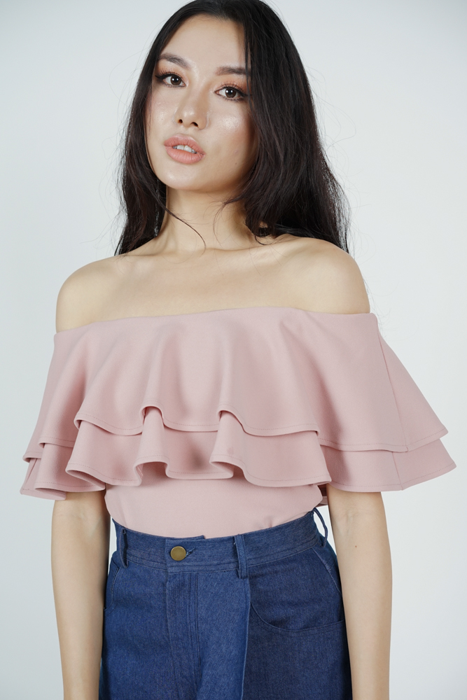 Flounce Layer Top in Blush